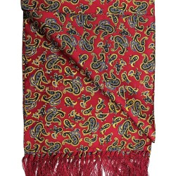 Soprano Silk Aviator Scarf Paisley On Red Background