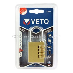 Veto Combination Padlock Brass 38mm