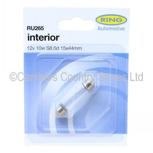Ring RU265 Festoon Auto Bulb 12v 10w S8 5d 15 x 44mm